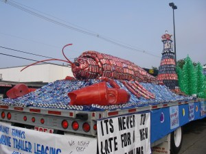 When innovation goes wild: The Rockland Walmart's Personal Sustainability Float made from all recycled materials for the 60th Annual Lobster Parade. And yes, that is an eight foot long lobster made of coke cans.